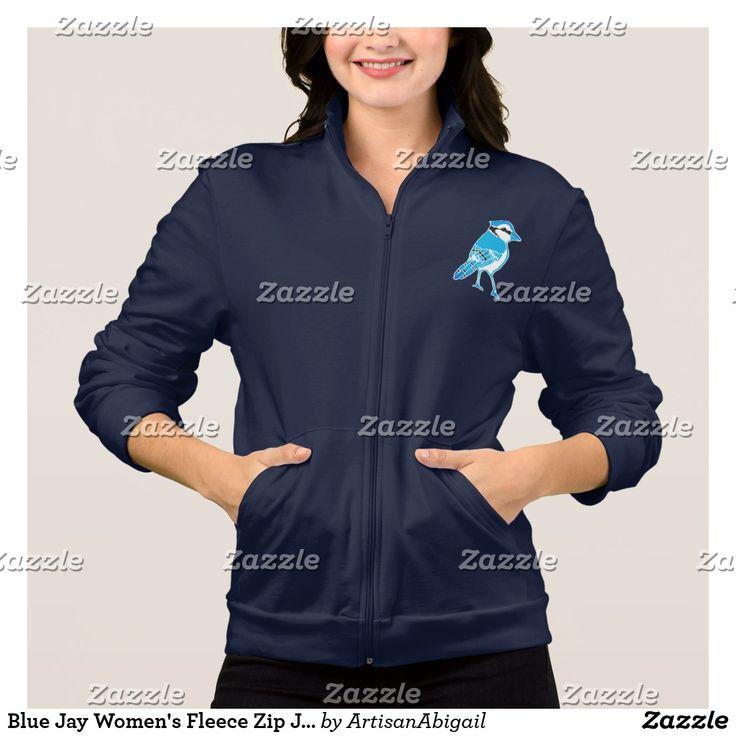 Blue Jay Women's Fleece Zip Jogger Jacket; ArtisanAbigail at Zazzle