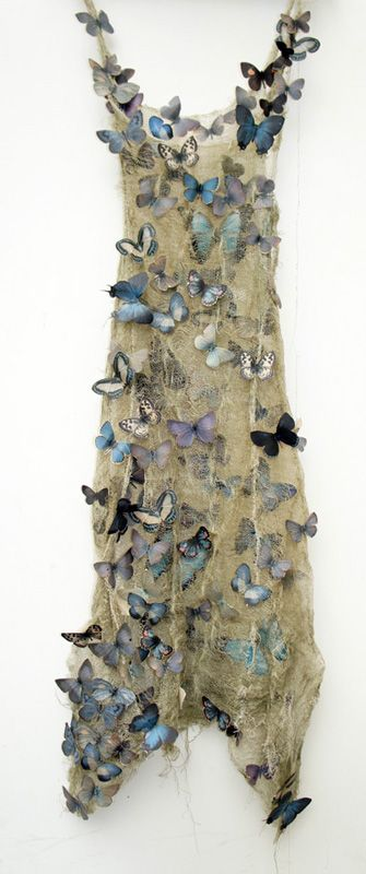 Nettle - Louise Richardson - is one of Norfolk's foremost artists. Her dresses made from novel materials are a must-see attraction; as well as highly collectible. Nails, snake skin, modesty seed pods and hymn books reworked into familiar garments, her ingenious, beautiful creations invite us to question the nature of fabric and the purpose of adornment.