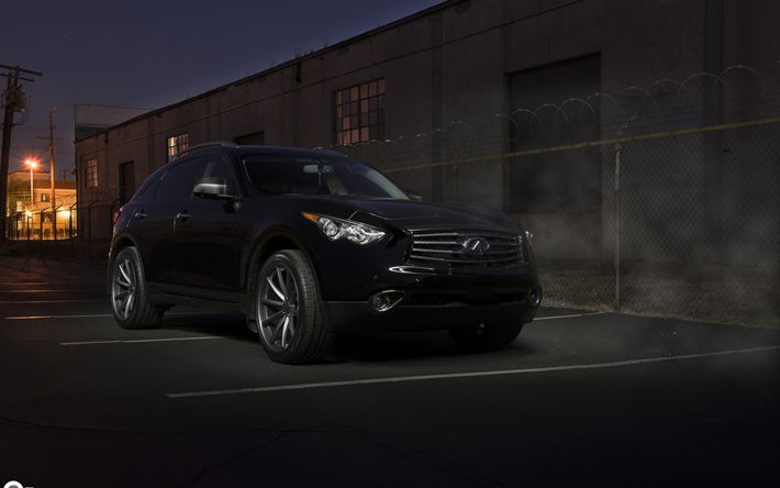Download wallpapers Infiniti QX70, Vossen, Black QX70, SUV, Japanese cars, tuning QX70, Infiniti