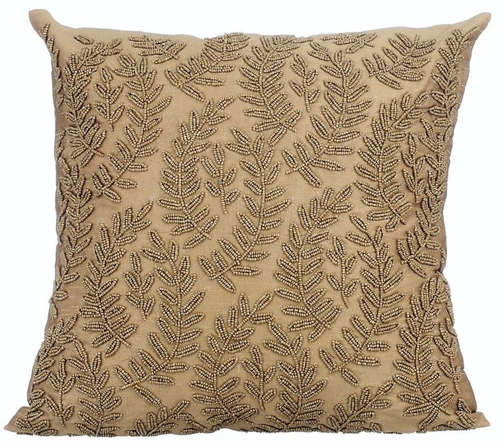 "Handmade Gold Throw Pillow Covers, 16""x16"" Silk Pillow Covers, Accent Pillow For Couch, Square Gold Beaded Floral Pillows Cover - Golden Ivy by TheHomeCentric on Etsy"