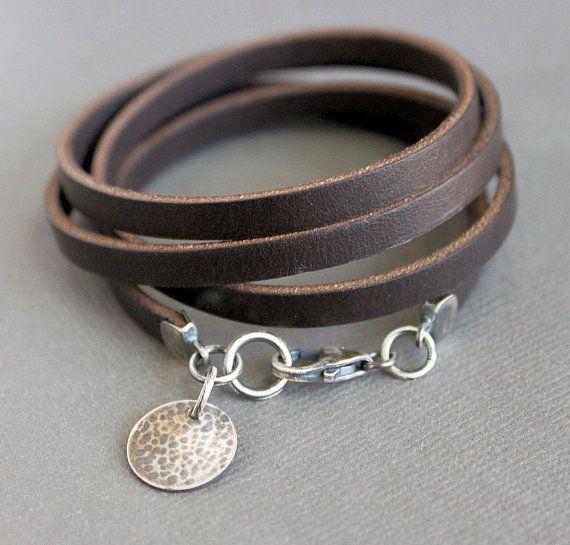 Brown Leather Wrap Bracelet Sterling Silver by LynnToddDesigns