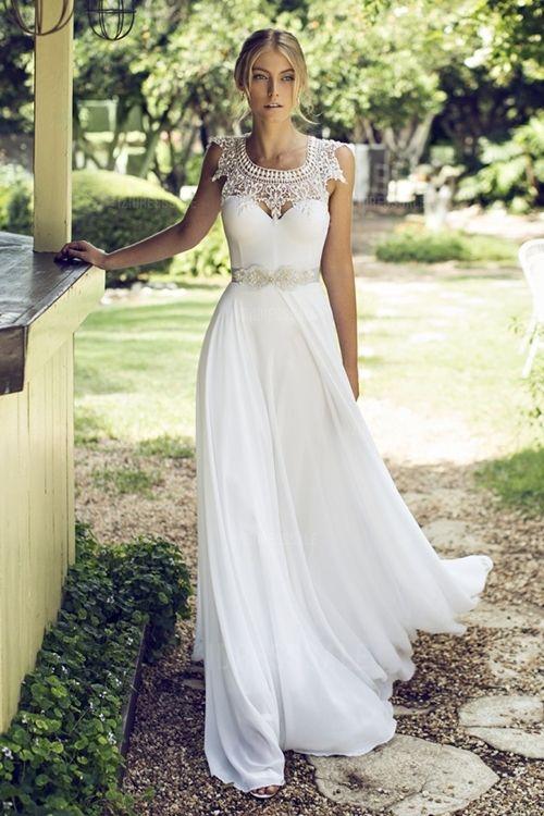A-Line/Princess Square Floor-length Chiffon Wedding Dress