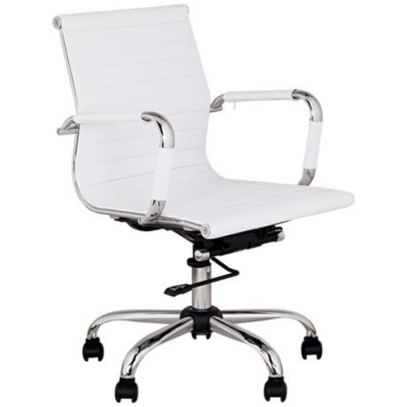 White Leather Low Back Swivel Office Chair  http://www.lampsplus.com/products/white-leather-low-back-swivel-office-chair__m5402.html