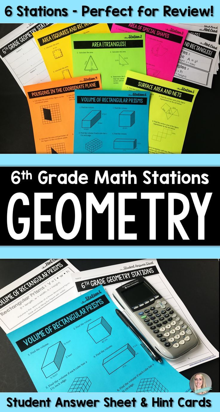 About this resource :  This set of stations provides your students with an engaging way to practice or review 6th Grade Geometry skills. Included are 6 stations, a student answer sheet and hint cards.   Stations Included :  ★ Area of Squares and Rectangles ★ Area of Triangles ★ Area of Special Shapes (Parallelograms, Trapezoids and Complex Shapes) ★ Polygons in the Coordinate Plane ★ Surface Area and Nets ★ Volume of Rectangular Prisms