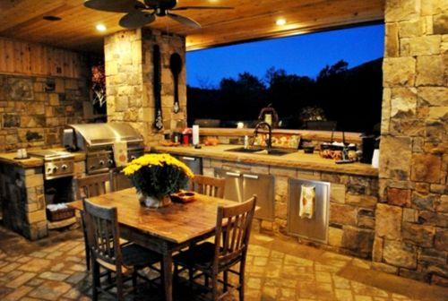 Küche mit Grill feuerstelle marmor oberflächen u-förmige