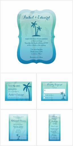 Aqua Blue Palm Tree Tropical Wedding Set #wedding #palmtree #tropical