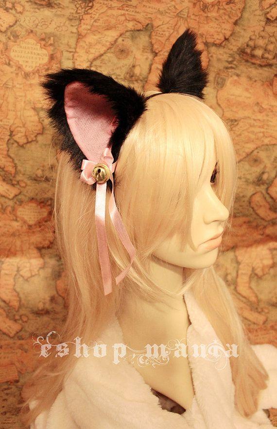 Black CAT MOVABLE ears HEADBAND w Ribbon n Bell by eshopmania, $15.98