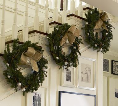 Christmas Decorating Ideas. Wreaths instead of garland on the stairs. Holiday decor.