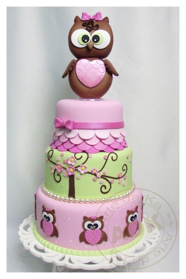 owl cake super cute for baby girls birthday!