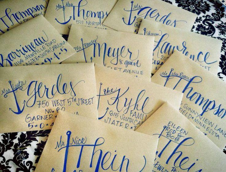 Hand addressed wedding invitation envelopes / modern calligraphy / anchor / beach wedding / nautical / www.facebook.com/charlestonchalkchick / charlestonchalkchick@gmail.com