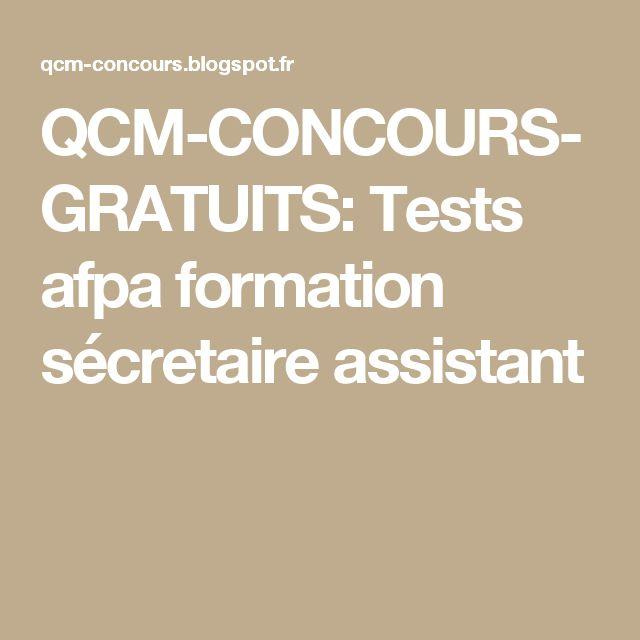 QCM-CONCOURS-GRATUITS: Tests afpa formation sécretaire assistant