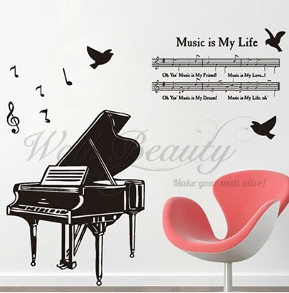 A B C D E F G......Music will never die! It will stay forever! Decorate your house right now!  Wall with good Stickers, Beauty in your House!  Best Wishes to yall!