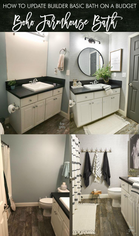 4 Tips For Creating A Budget Friendly Boho Farmhouse Bathroom Makeover Diy Bathroom Decor Farmhouse Bathroom Decor Bathroom Makeover