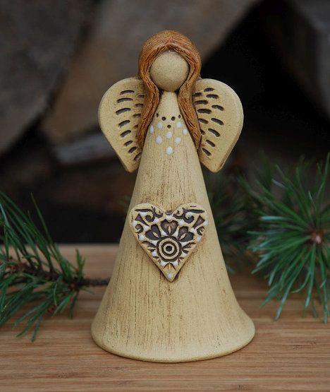 Keramický zvonek – anděl, částečné glazování, cena 199 Kč; Fler/malina11