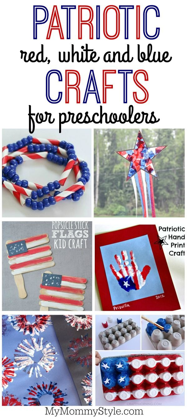 Patriotic red white and blue crafts perfect for preschool or early elementary aged children to make for 4th of July, Memorial Day, Flag day or for your summer BBQ