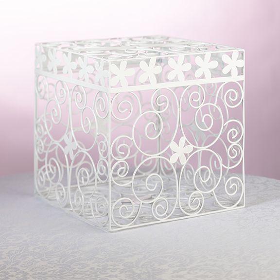 Gift Box Wedding Card In White Metal