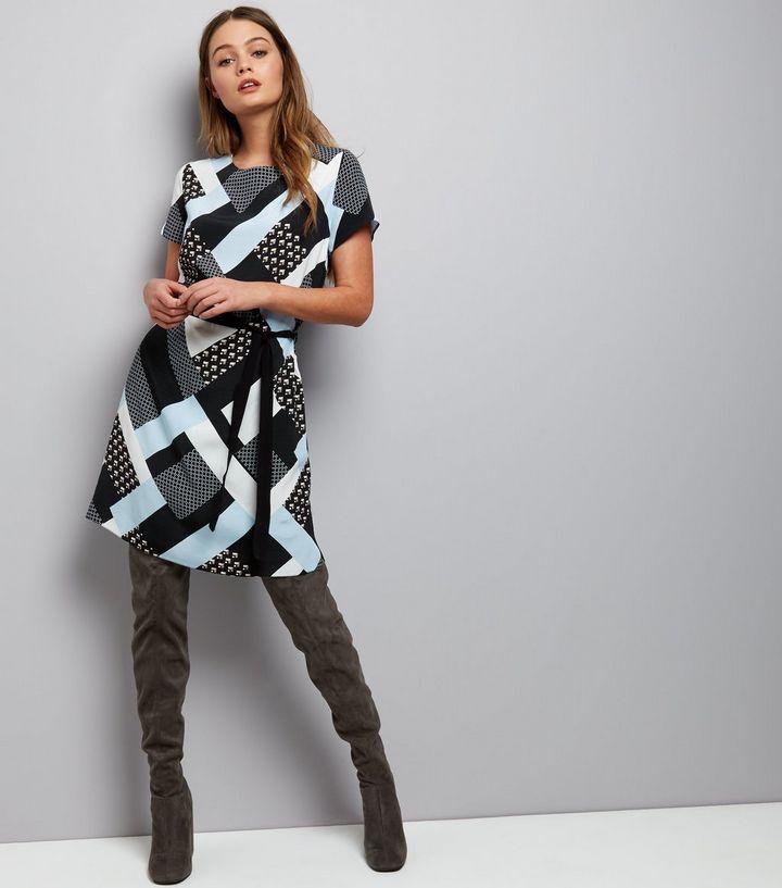 Dark Grey Geo Print Belted Tunic Dress | New Look