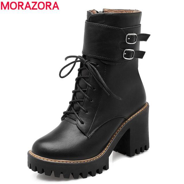 Мода сапоги 2017 осень зима пряжки женская обувь толстые высокие каблуки круглый носок платформы зашнуровать ботинки лодыжки для женщин