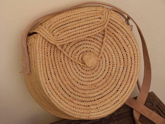 paja bolso circular bolsa de rafia bolso de la verano bolso