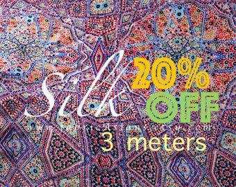 Tessuto di seta 3 metro crepe acquistare Asiaque modello Mandala viola fare