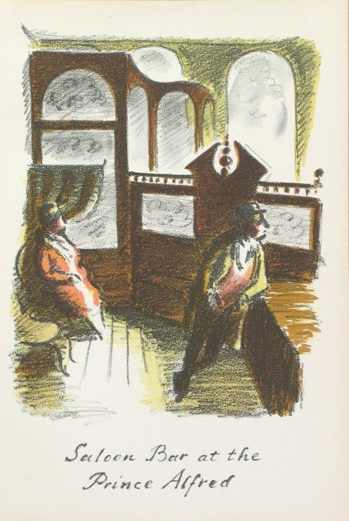 Edward Ardizzone - Saloon Bar at the Prince Alfred From The Local, a series of lithographs depicting London pubs.