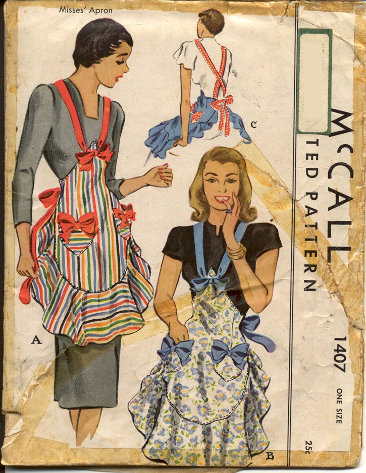 McCall 1407 Misses Apron Shaped Waistline Ruffled Hem Heart Shaped Pockets with Bows 1940s Swing Era Womens Vintage Sewing Pattern