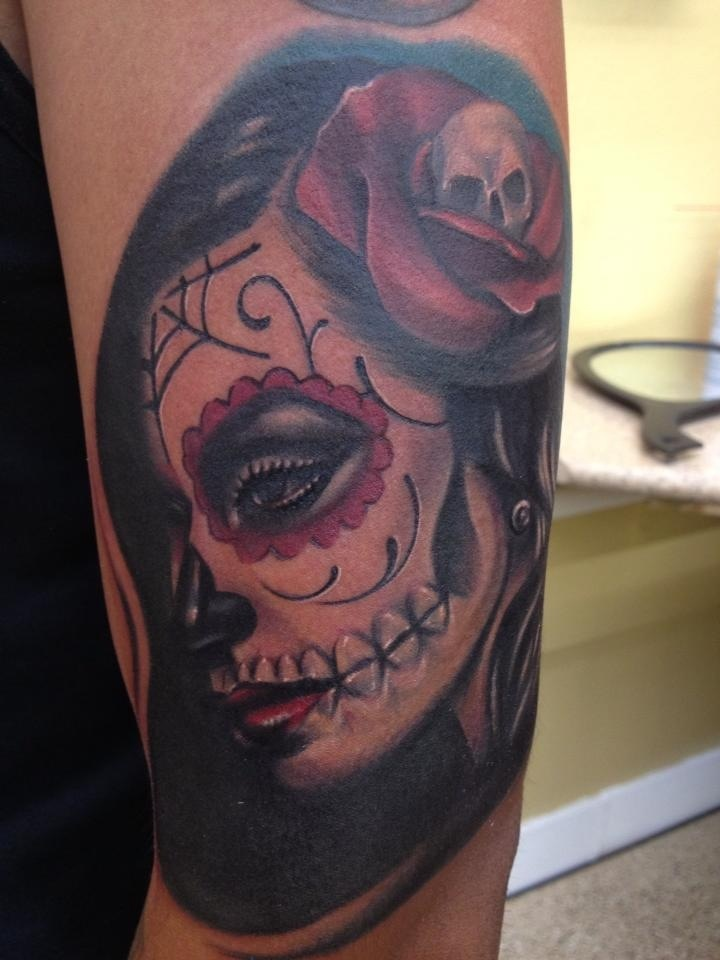 new tat dia de la muerte girl tattoo done by mike diaz. Black Bedroom Furniture Sets. Home Design Ideas