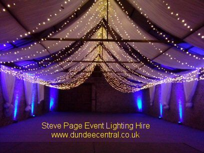 Uplighters and fairy lights by Steve Page: www.dundeecentral.co.uk