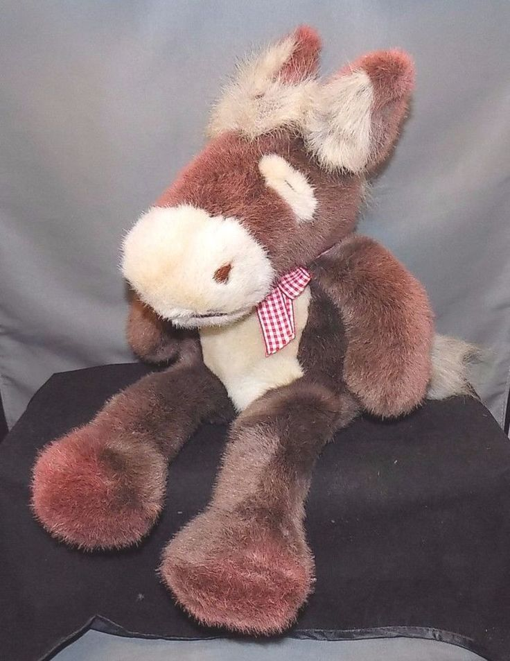 The Manhattan Toy Company (1997) Plush Horse/Donkey with Red/White Checked Bow #ManhattanToy