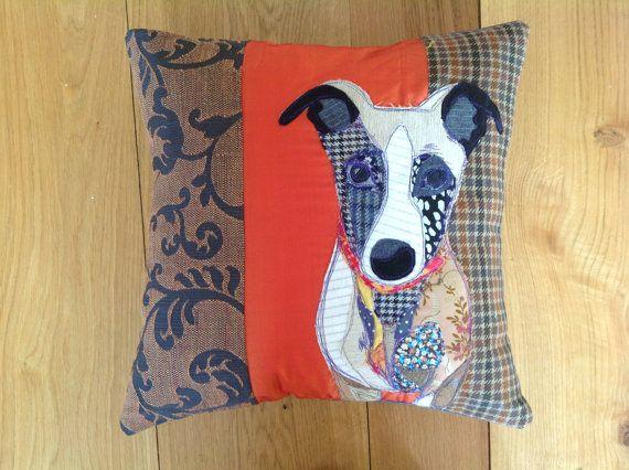 Orange background handmade Dog Cushion. by PandRCreations on Etsy, £115.00