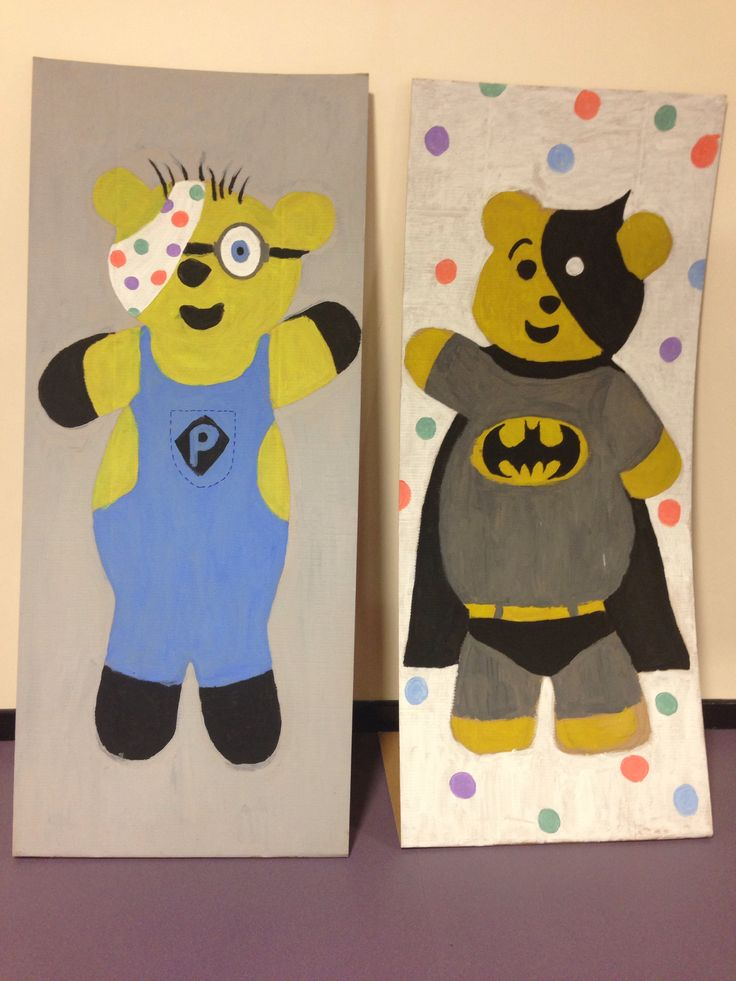 Pudsey at the movies! Life-size Pudsey Bear pictures created by my class to decorate a local Children In Need call centre.