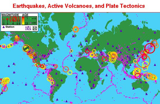 map of recent earthquakes | Map courtesy of USGS