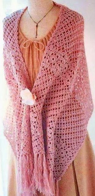 Crochet Shawl - Free Crochet Diagram - (woman7)