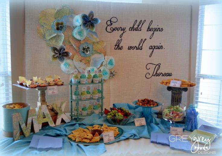 Baby Boy Baby Shower - How sweet is this party table?Shower Ideas, Vintage Baby Showers, Vintage Maps, Boys Meeting, Baby Ideas, Baby Boys, Baby Shower Boys, Baby Shower Parties, Baby Stuff