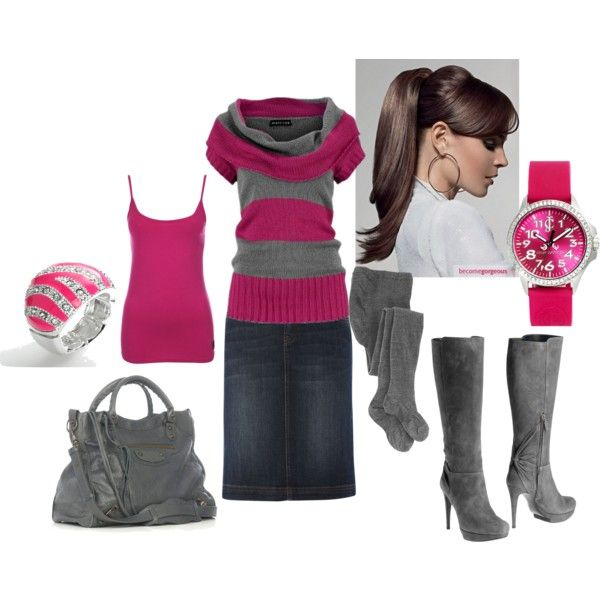 Cute combo.  Probably wouldn't wear the high heel boots, but the outfit is still very cute.