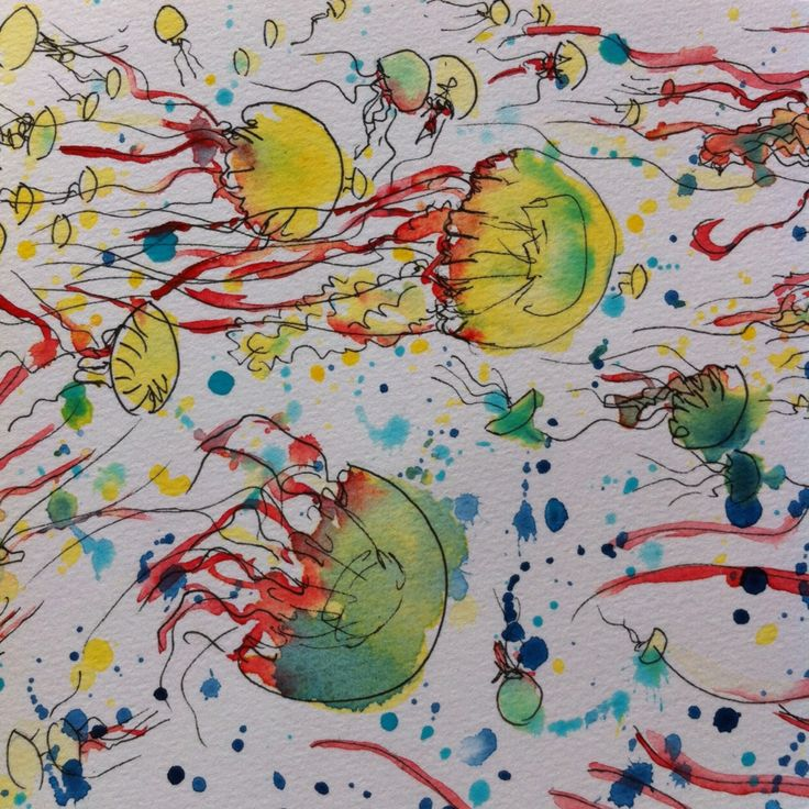 """""""A nest of sea nettles"""" - original pen and watercolour painting. For sale, unframed 21cm x 15cm. For more of my marine artworks and science stories follow me as Dr Suzie Starfish on Facebook."""