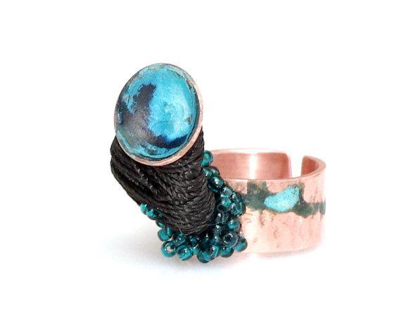 statement adjustable copper ring with applied by LetitiaPintilie, $32.00