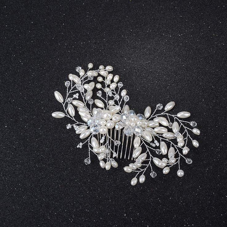 Bridal Hair Comb Charm Crystal Hair Combs silver Color Leaf Hairpins Holiday Hair Ornament Handmade Wedding Accessories