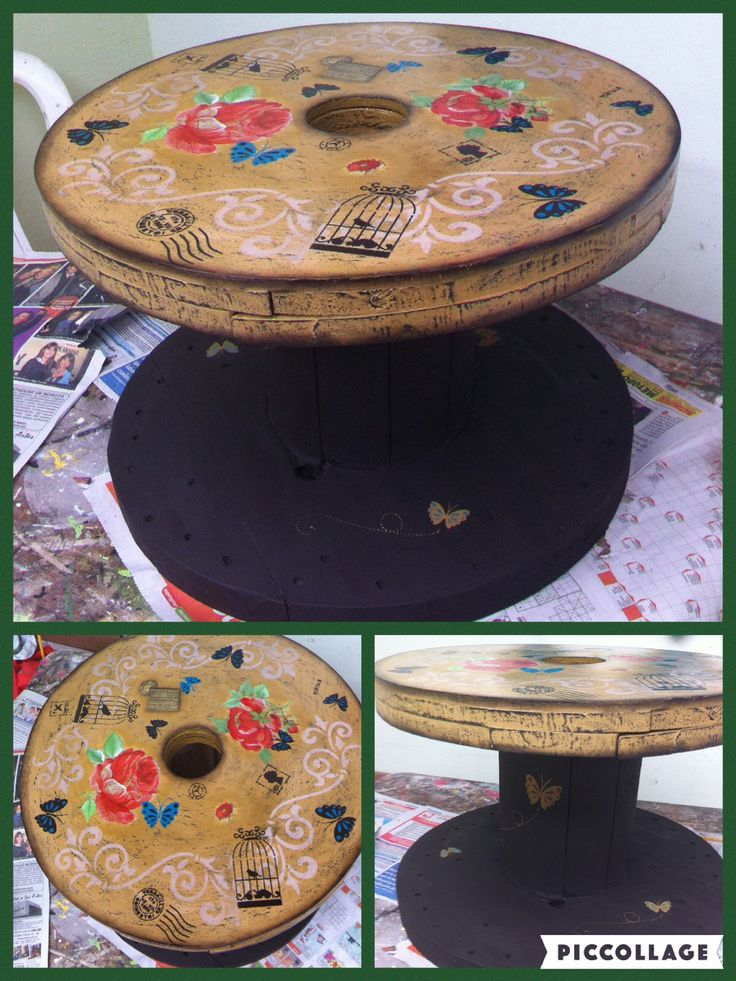 Mesa con bobina reciclada