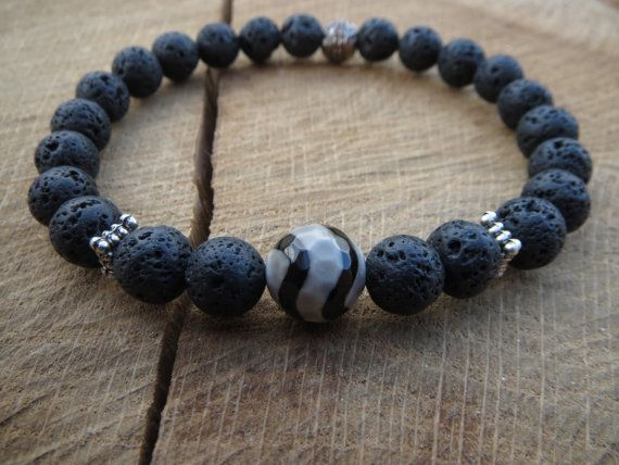 Men Bracelets, Mens Black Lava Bracelet, Tibeatan Dzi Bead Bracelet, Mens Stretch Beaded Bracelet, Black Bracelet, Mens Mala Bracelet on Etsy