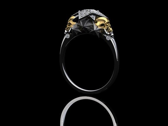 Star Skull Engagement Ring with Half Carat by adamfosterjewelry