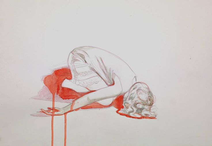Watercolor and pencil on paper. by Mercedes Helnwein Carrie