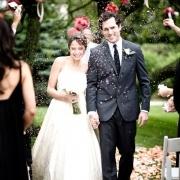 Throwing fake snow at the wedding.