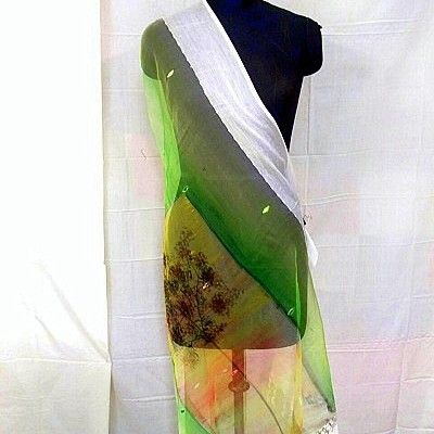 Lime green shaded dupatta