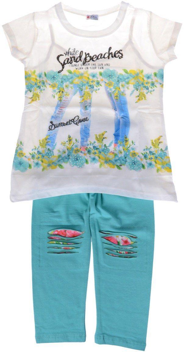Εβίτα παιδικό σετ μπλούζα-παντελόνι κολάν κάπρι «Sand Green»