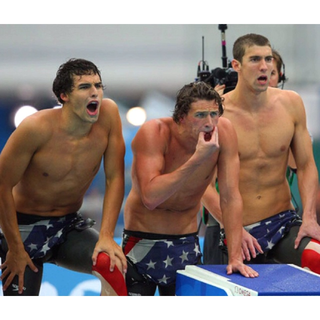 Ricky Berens, Ryan Lochte, and Michael Phelps. God Bless America