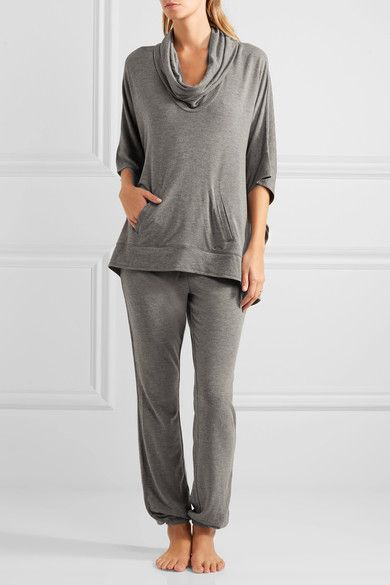 Gray stretch-jersey  Pull on 94% viscose, 6% elastane Machine wash