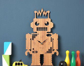 Reloj de pared de robot, Robot reloj moderno, para niños reloj, láser Owl & Otter