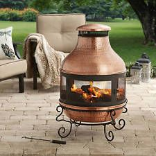 Garden Tall Chiminea Fire Pit Copper Hammered Outdoor Fireplace Backyard Heater