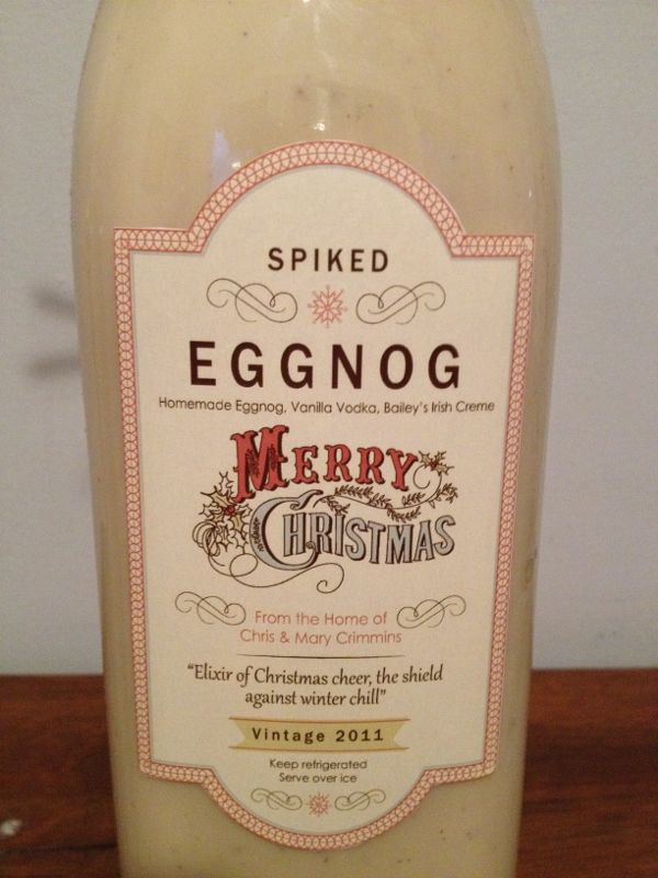Cute label for home made eggnog or other liquor gifts.
